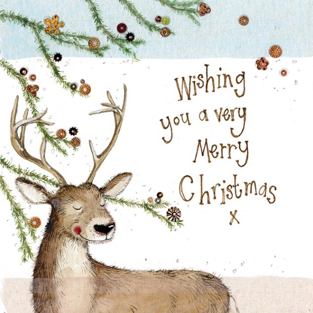 Kerstkaart Wishing you a very Merry Christmas.