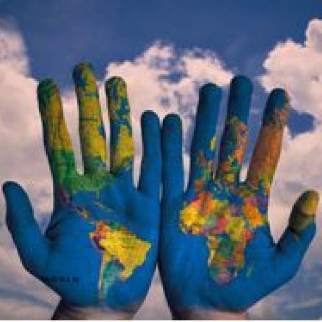 Ansichtkaart De Wereld in je Handen.