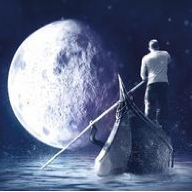 Ansichtkaart Reis naar de Maan.