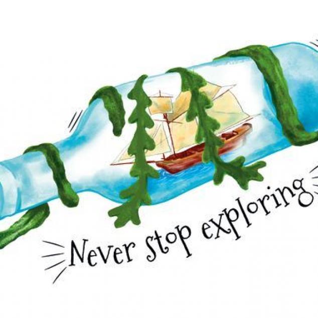 Ansichtkaart Never Stop Exploring the World.