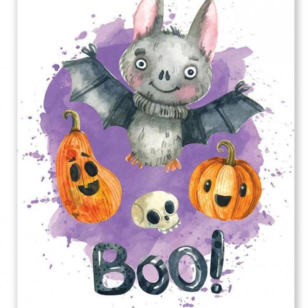 Ansichtkaart Halloween Vleermuis.