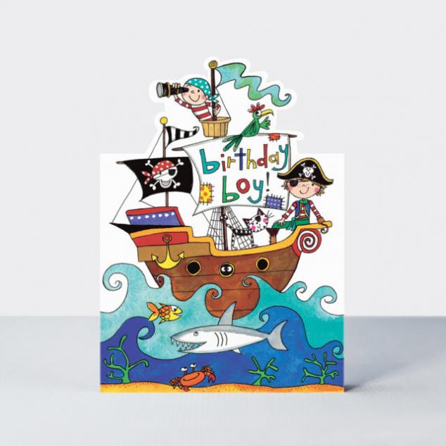 Wenskaart, Verjaardag Piraten Schip.