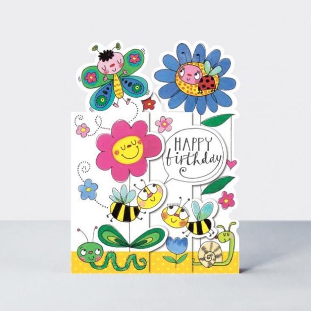 Wenskaart Verjaardag, Bloemen en Insecten.