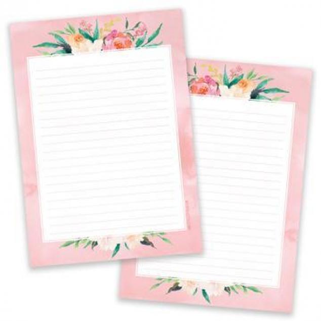 Schrijfblok, Roze Bloemen, 2-zijdig.