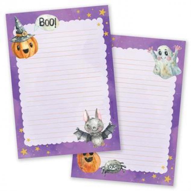 Schrijfblok Halloween Paars (2-zijdig).