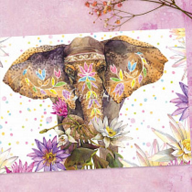 Ansichtkaart Gekleurde Olifant.