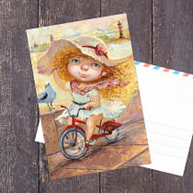 Ansichtkaart op de fiets.
