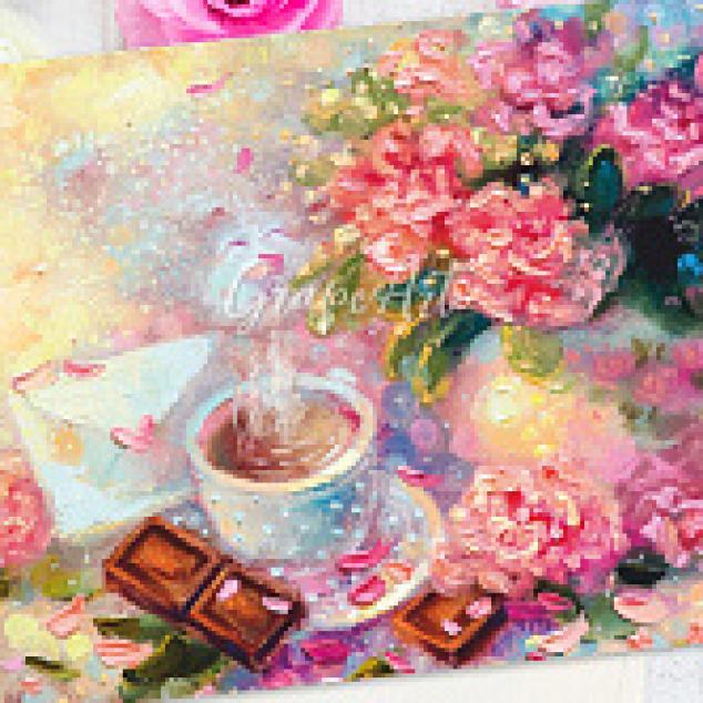Ansichtkaart Thee tussen de roze bloemen.