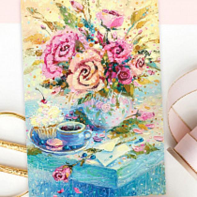 Ansichtkaart Thee bij een vaas bloemen.