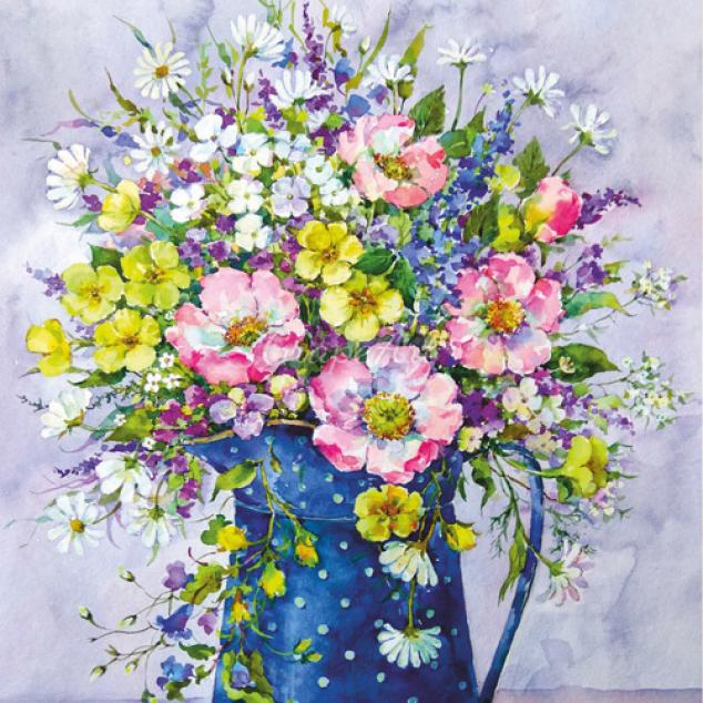 Ansichtkaart Kan met Prachtige Bloemen.