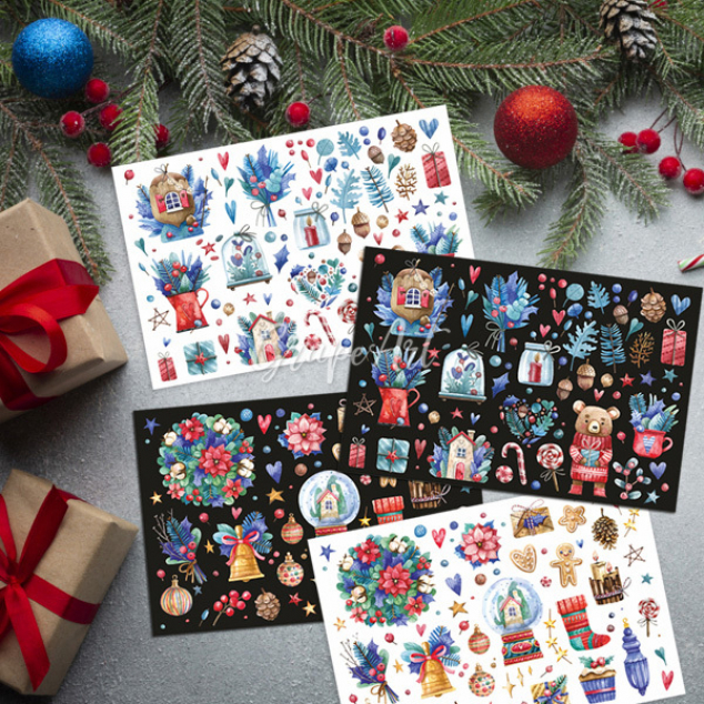 Ansichtkaarten set van 4, Kerst.