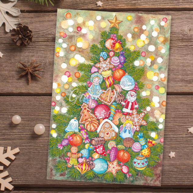 Ansichtkaart, Kerstboom