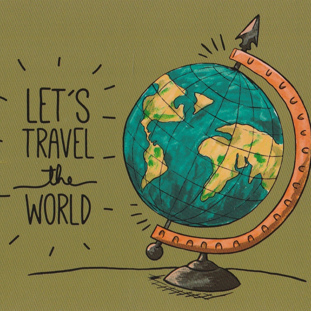 Ansichtkaart Let's Travel the World.