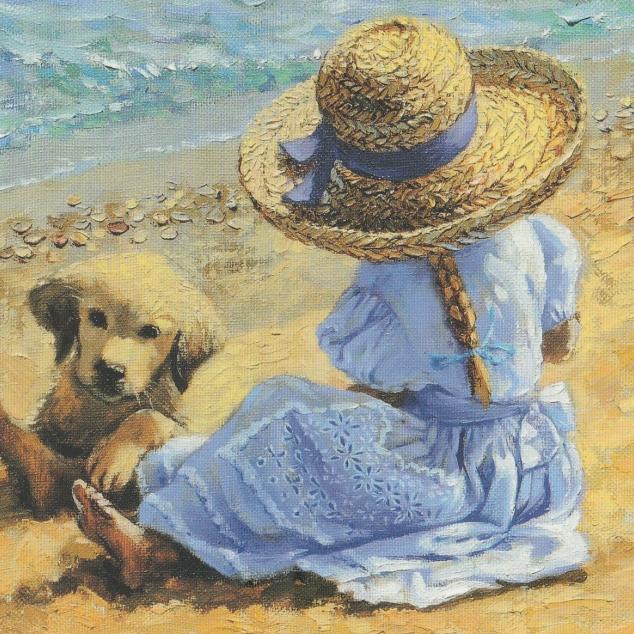 Ansichtkaart, met je Hond op het Strand.