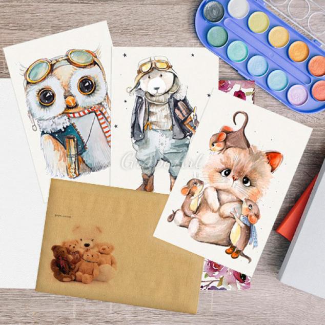 Ansichtkaarten Set van 3, dieren geïllustreerd.