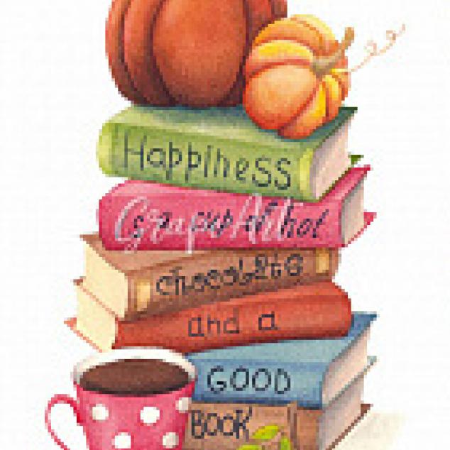 Ansichtkaart, Boeken met Pompoen.