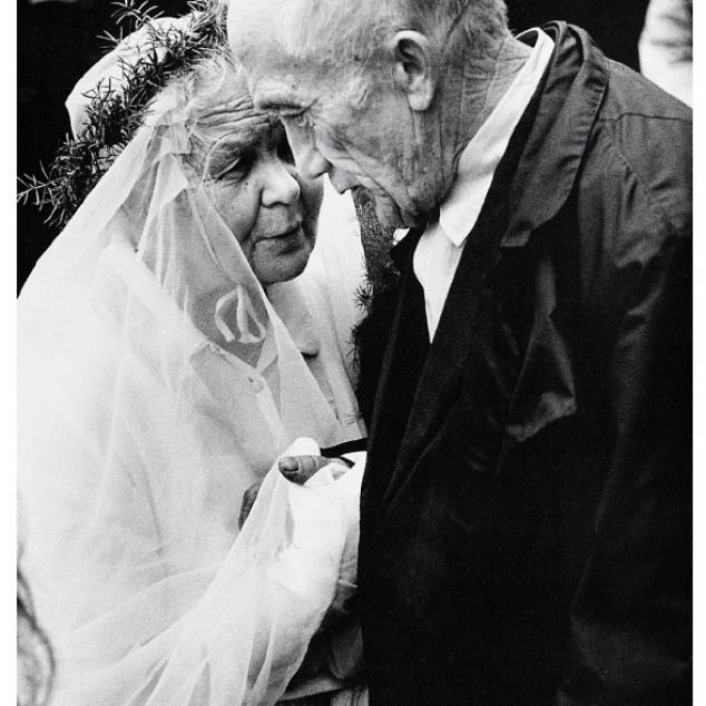 Wenskaart zw/wt. ouder getrouwd stel.