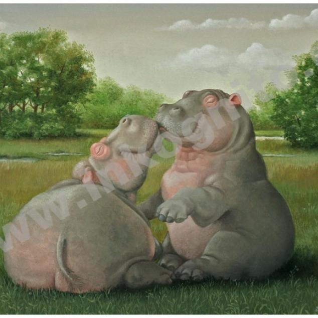 Wenskaart Verliefde Nijlpaarden.