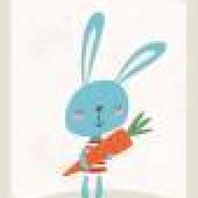 Ansichtkaart Konijn met worteltje.
