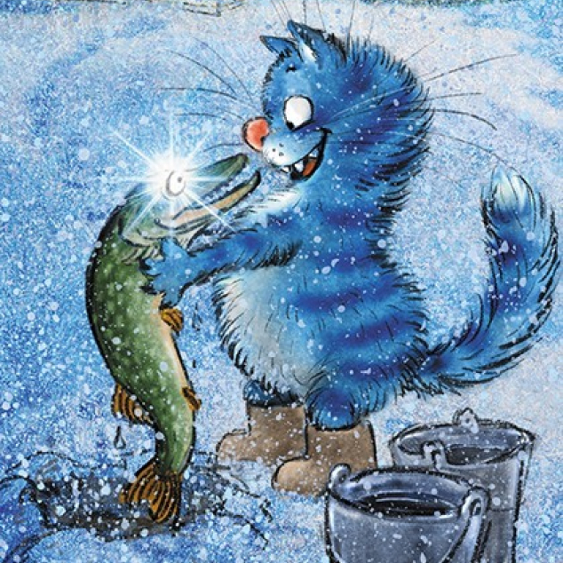 Ansichtkaart Blue Cat vangt een Snoek.