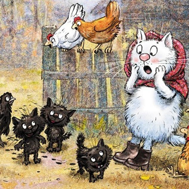 Ansichtkaart Mevrouw Blue Cat en haar Bengels.