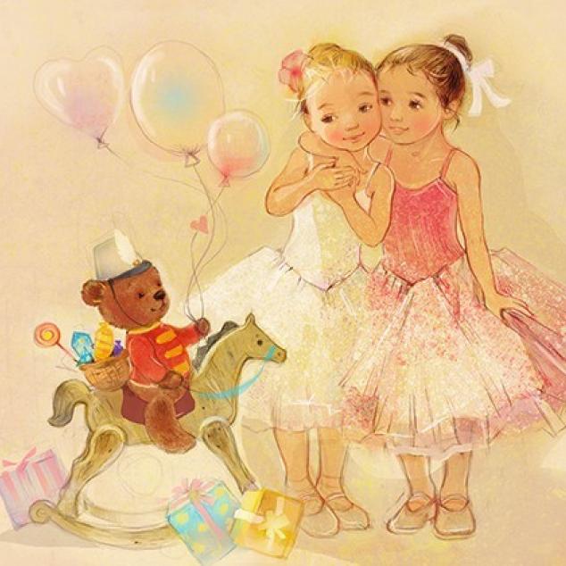 Ansichtkaart Kleine Ballerina's.