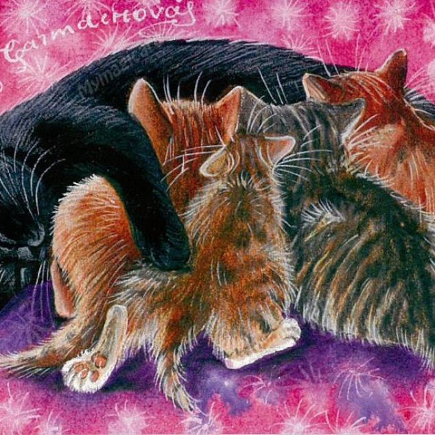 Ansichtkaart, Kittens drinken bij Mams.