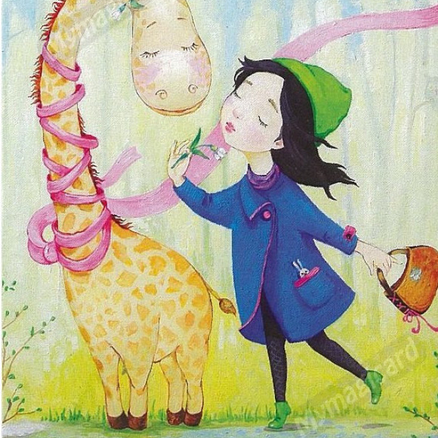 Ansichtkaart, Giraffe met roze lintje.