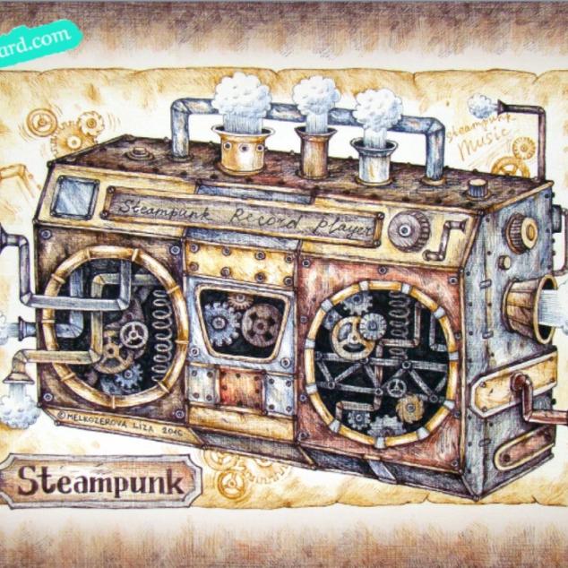 Ansichtkaart Steampunk Radio.