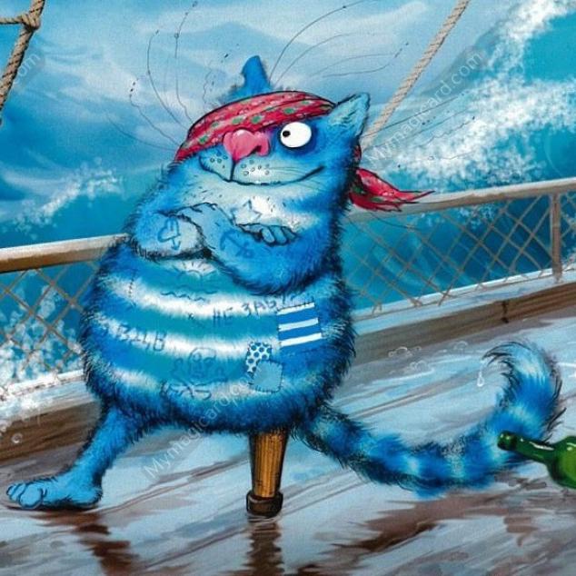 Ansichtkaart Blue Cat en zijn Houten Poot.