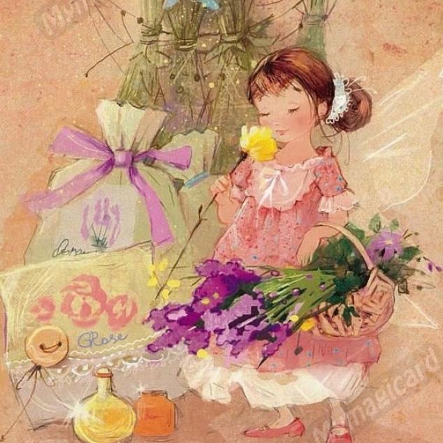 Ansichtkaart Lavendel Elfje.