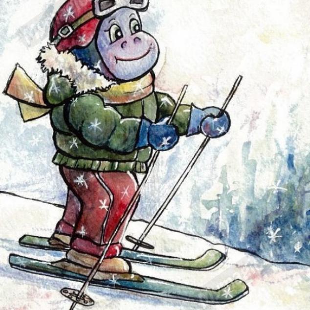 Ansichtkaart Nijlpaardjes kunnen ook Skiën.