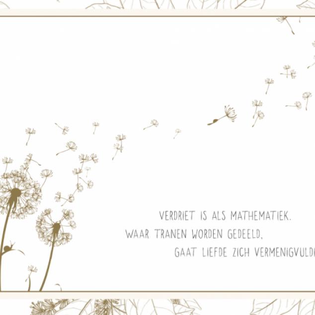 Wenskaart, Verdriet is als Mathematiek...