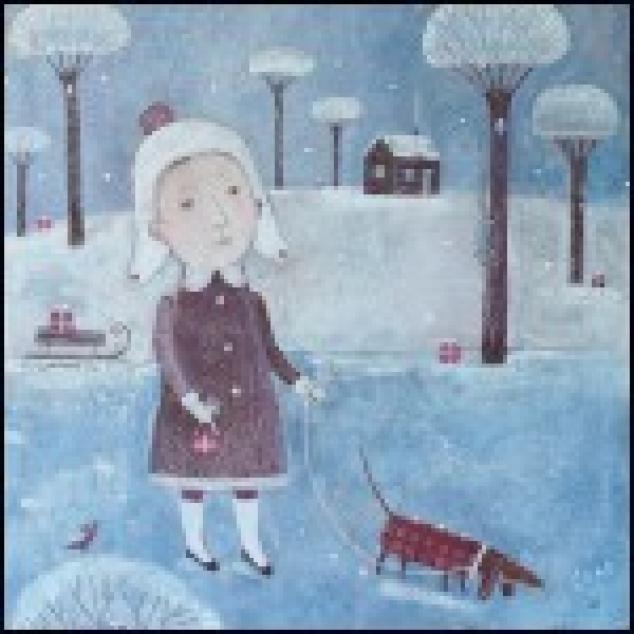 Ansichtkaart, Winter Wandeling.