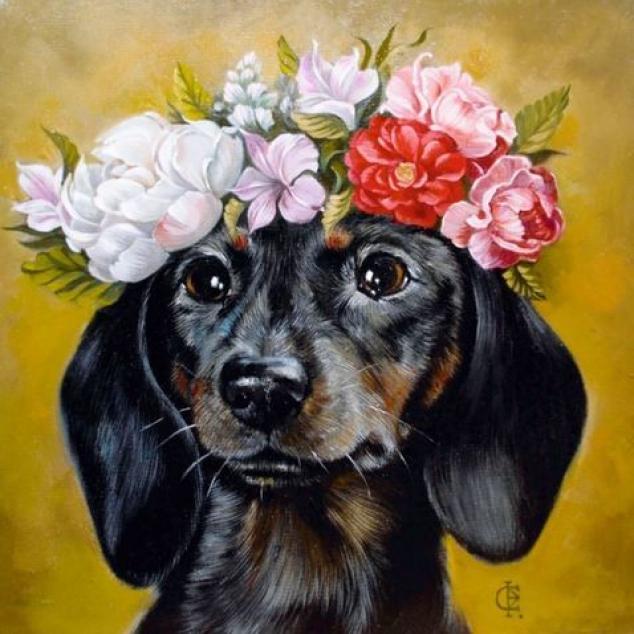 Ansichtkaart Teckel met bloemetjes.