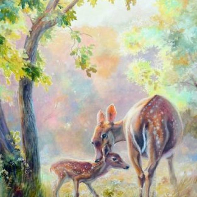 Ansichtkaart Bambi en Mams.