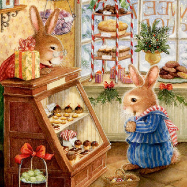 Ansichtkaart Konijn in de Taartjeswinkel.