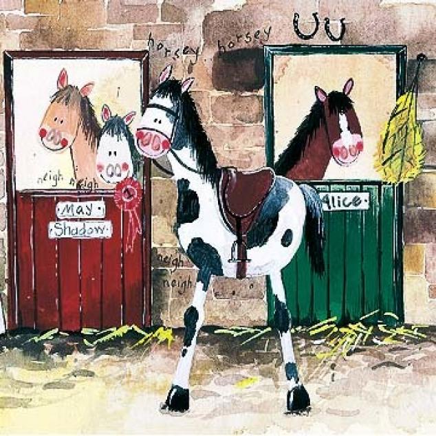 Wenskaart Paarden op Stal.