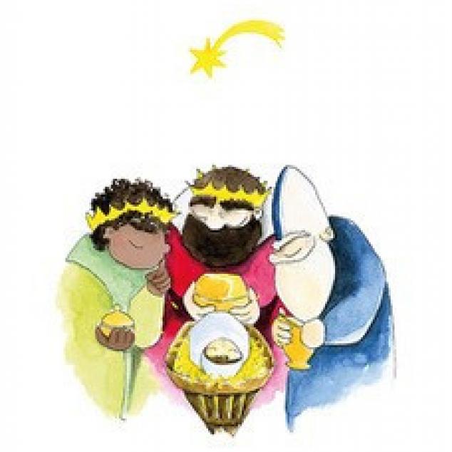 Wenskaart de 3 Wijzen buigen over Kinneke Jezus.