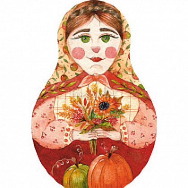 Ansichtkaart Matroeska Dame met Bloemen, gestansd in vorm.