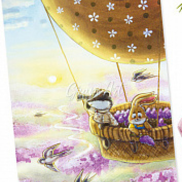 Ansichtkaart, in een Luchtballon de Lente tegemoet.