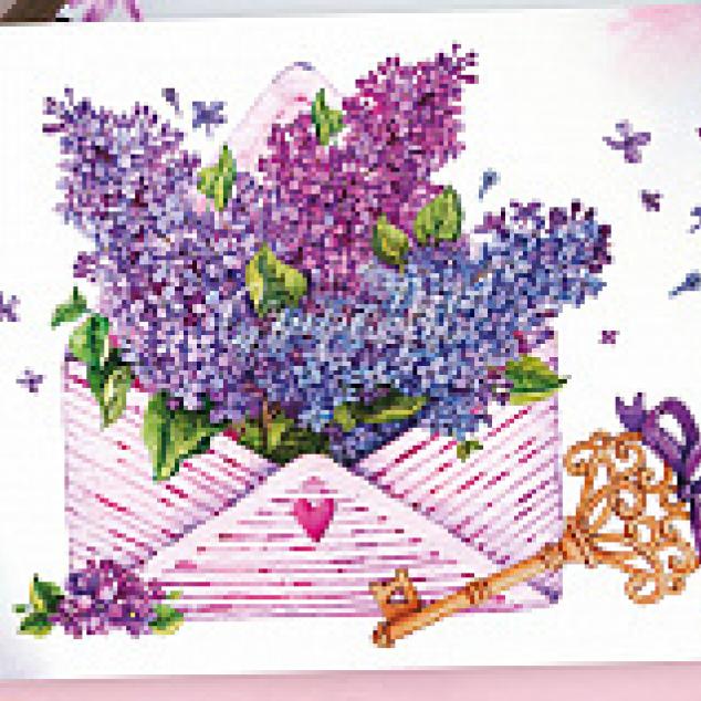 Ansichtkaart een Envelop vol Seringen.