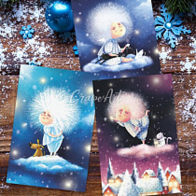 Ansichtkaarten Set Pluizen Bol, 3 kaarten.