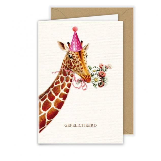 Wenskaart Giraffe Gefeliciteerd.