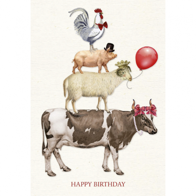 Wenskaart Een stapel Dieren wenst je Happy Birthday.