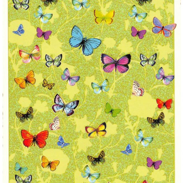 Ansichtkaart, heel veel vlinders.