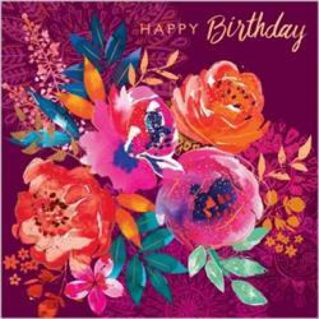 Wenskaart Happy Birthday met een bloemzee.