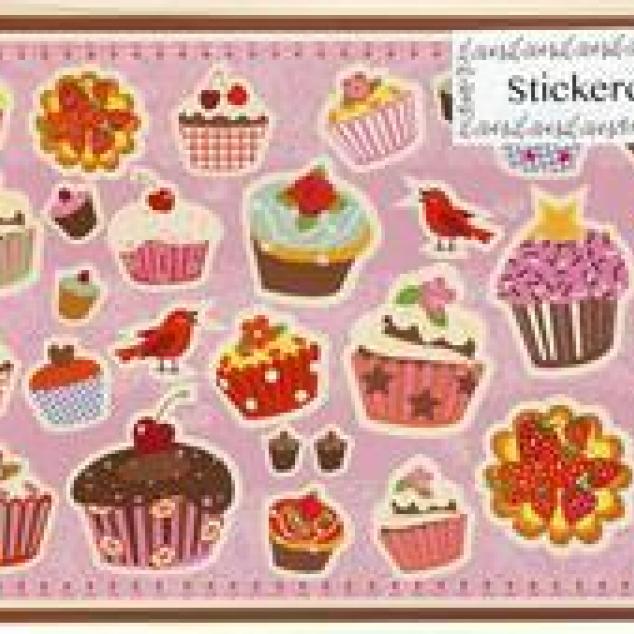 Ansichtstickerkaart met heel veel cupcakes.