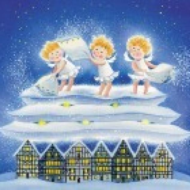 Ansichtkaart De Engeltjes maken sneeuw.