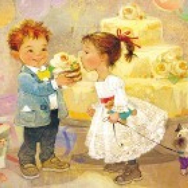Ansichtkaart, Ik deel mijn taartje met jou.